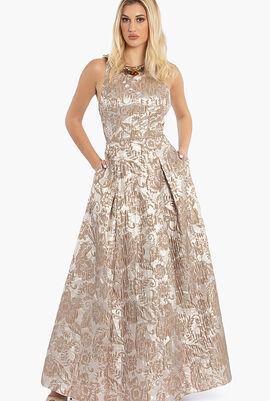 Acquard Ballgown Floral Dress