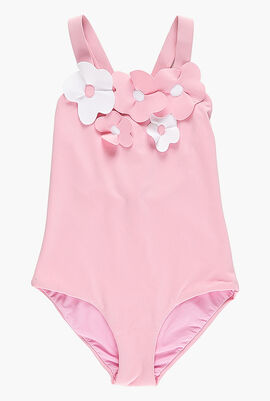 Flower Applique One Piece Swimsuit