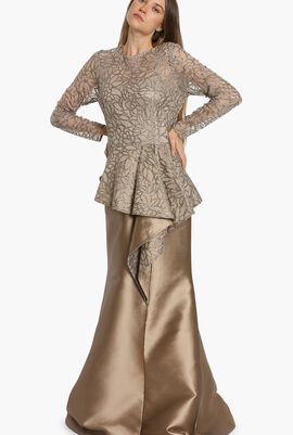 Long Sleeves Lace Evening Gown
