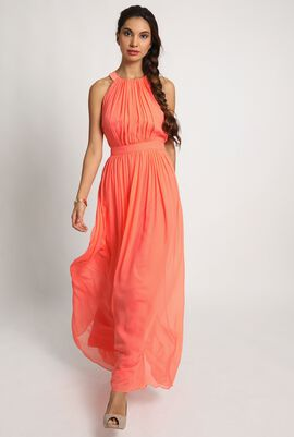 Elegant Pleated Silk Maxi Dress