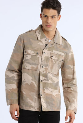 Zipped and Buttoned Camouflage Jacket
