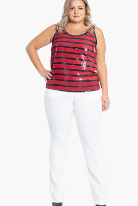 Sequined Striped Tank Top