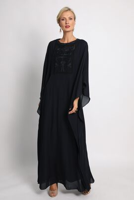 Crochet Solid Black Maxi Kaftan Dress