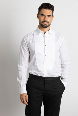 Bib-Front Cotton-Poplin Tuxedo Shirt