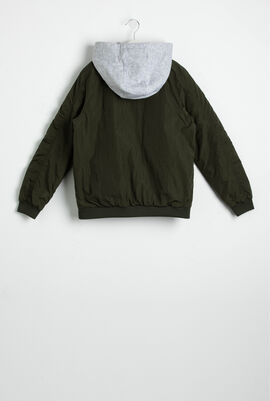 Contrast Fleece Hooded Bomber