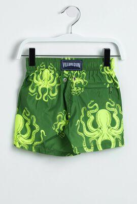 All Over Octopus Print Swim Trunks