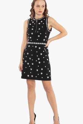 Studded Zip Detail Mini Dress