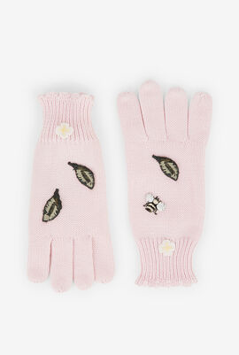 Bee Applique Knitted Gloves