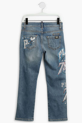 Printed Washed Denim Pants