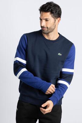 Striped Sleeves Fleece Sweatshirt