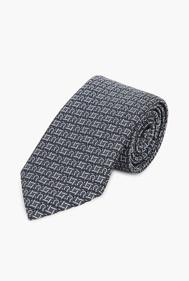 Gancini Embroidered Pattern Tie