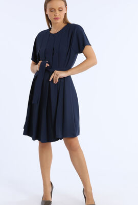 Pleated Short Sleeve Mini Dress