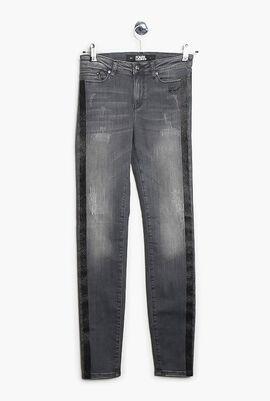 Skinny Denim W/Sparkle Stripes
