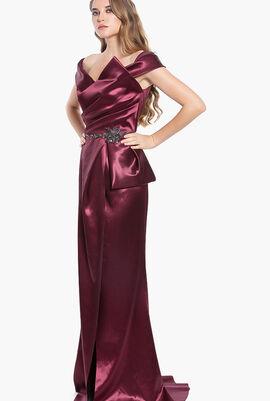 Hi Gloss Satin Draped Long Gown