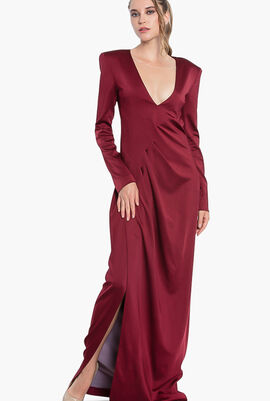 Plunging  Long Sleeves Dress