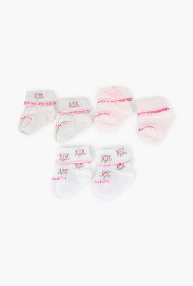 Set of 3 Rose Printed Cotton Socks