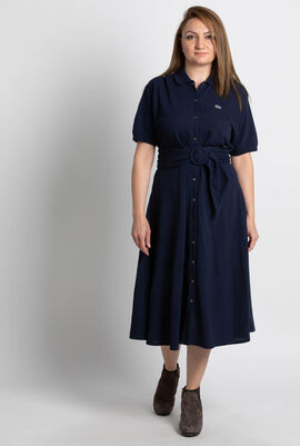 Buttoned Navy Polo Dress