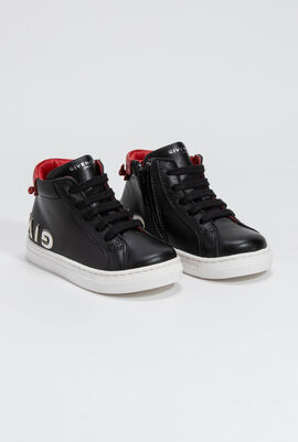 Logo Leather High-Cut Trainers