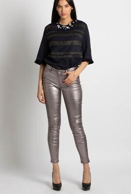 Skinny Metallic Coated Denim Jeans