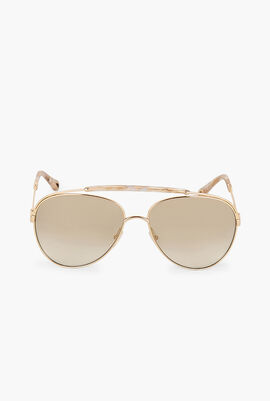 Marble Beige Aviator Sunglasses