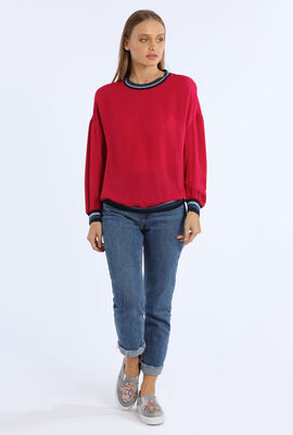 Contrast Accents Silk Crepe Top