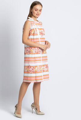Floral Stripes Wrap Around Dress