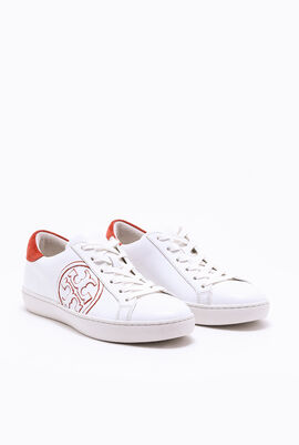Suede-trimmed printed leather sneakers