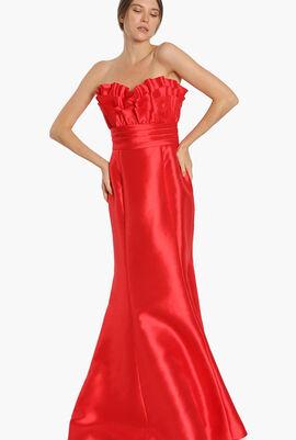 Strapless Ruffled Mermaid Gown