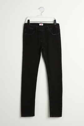 Elastic Waistband Denim Pants