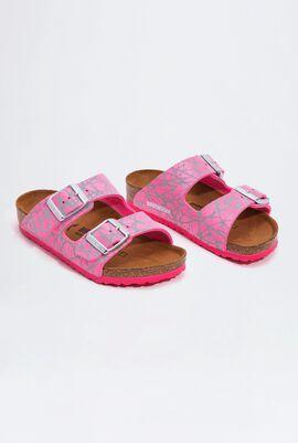 Arizona Birko-Flor Reflective Lines Pink Girl's Sandals