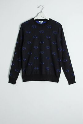 Eye Pattern Print Knit Sweater