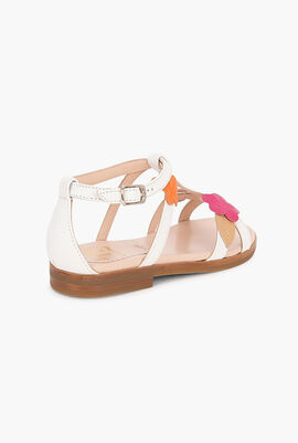 Flower Patch Leather Sandals