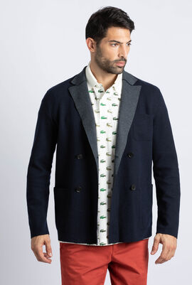 Contrast Lapels Double-Breasted Wool Blend Blazer