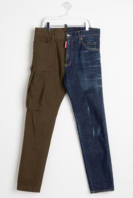 Two-Tone Cigarette Fit Jeans