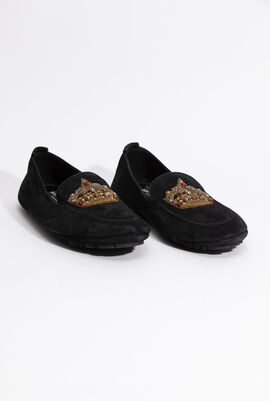 Suede with crown embellished Loafer
