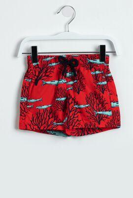 Coral and Fish Print Swim Trunks