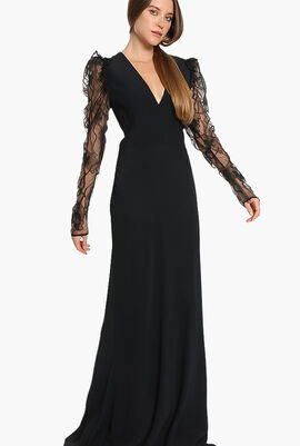 Lace Sleeves Evening Dress