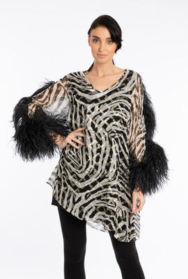 Fonetica Feather Trim Blouse