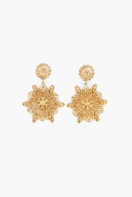 Filigree Flower Drop Earrings