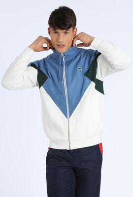 Colourblock Cotton Fleece Zip Jacket