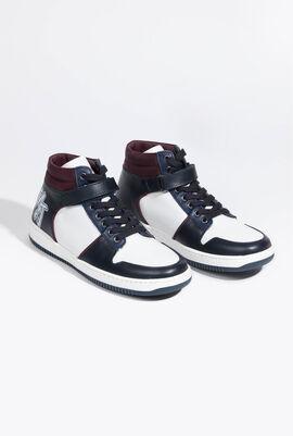 Tri-colour High-Cut Sneakers