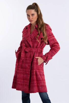 Tweed Check Trench Coat