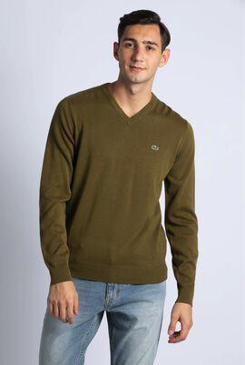 V-Neck Cotton Jersey Sweater
