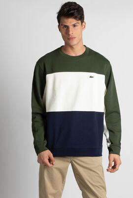 قميص ثقيل من صوف بيكيه بياقة ضيقة ومستديرة وألوان مختلفة
