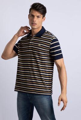قميص بولو بقصة كلاسيكية مزين بخطوط غير متماثلة