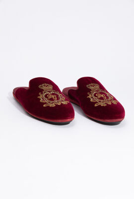 Velvet Sequins Embellished Slides