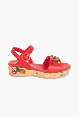 Raffia Red Flower Sandals