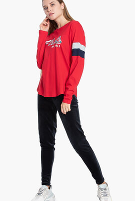 Colour Block Graphic Long Sleeves T-Shirt