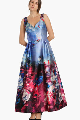Floral Print Sleeveless Gown