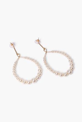 Oval Open Earrings with Pearl